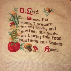 Vtg Hand Embroidered Needlepoint Prayer Tapestry